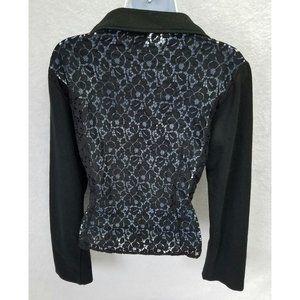 Dots Women's Long Sleeve Jacket Lace Back Black Lg